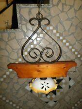 Lampadario a sospensione in ferro e legno rustico con coppetta in terracotta
