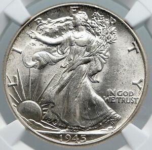 1945 WALKING LIBERTY Half Dollar Bald Eagle United States Silver Coin NGC i89165