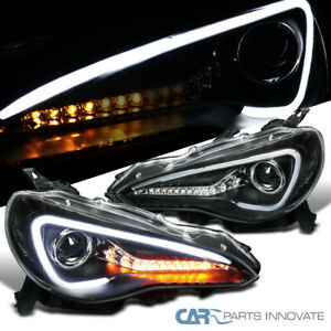 For 12-17 Scion FR-S Toyota Matte Black LED Sequential Projector Headlights Pair
