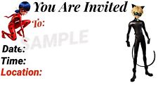Miraculous Invitations with matching envelopes, Ladybug & Cat, birthday 12pack