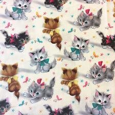 MM78 Vintage Kitties Cats Kitten Flower Butterfly Kitty Cute Cotton Quilt Fabric
