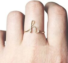 Hanbintod Rose Gold Plated Alphabet Initial Letter Ring A-Z Stackable Ring For