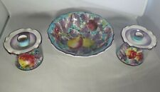 Vintage Porcelain Fruit Bowl & Pair Of Candlesticks Made In Italy Signed Number