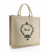 HARRODS LONDON JUTE RUBBER LINED LIMITED EDITION  LARGE TOTE BAG  - LUXURY GIFT