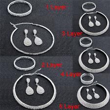 Crystal Women Choker Necklace Earrings and Bracelet Wedding Jewelry Set SE RDR