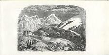 Stampa antica VALTELLINA il PASSO dello STELVIO Sondrio Tirolo 1885 Old print