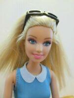 Barbie Doll Long blonde hair Blue dress White high heel Boots & sunglasses