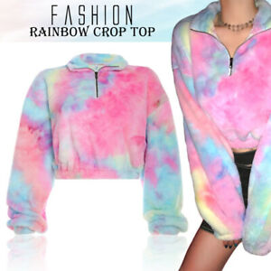 Tiedye Rainbow Sweatshirt Crop Top Long Sleeve Fur Sweater Soft Warm Winter Fall