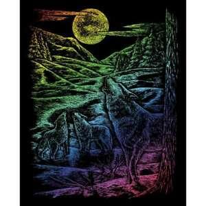 "Rainbow Foil Engraving Art Kit 8""X10"" Howling Wolves 090672056511"