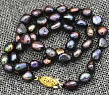 "hoo Rare! 7-8MM black Akoya Cultured Pearl Baroque Necklace 18"" AA 18K GP"