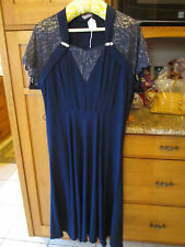 Vintage 1930s Blue Short-Sleeve Formal Dress with Lace