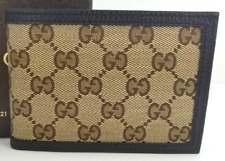 Gucci Men's Beige And Brown Leather And Canvas Bi Fold Wallet With Coin Pocket