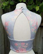 Kardashian Kollection Ladies crop top X small open back sexy sleeveless floral