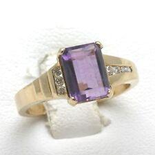 Vintage 14k Oro Amarillo Amatista Violeta Anillo con Diamante Moderno Genial