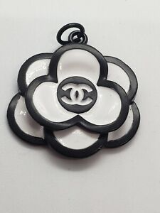 1 Large Chanel White and black Stamped flower camellia, 30 mm