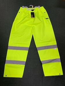 Walls Hi-Vis ANSI-E Reflective Work Safety Pants Yellow Hi-Visibility Brand New