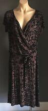 NWOT SARA Brown & Black Cap Sleeve Wrap Look Dress Waist Tie Plus Size 1X 16