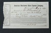 1871 American Merchants Union Express Company Receipt