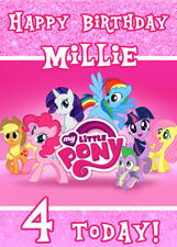 MY LITTLE PONY Personalised Birthday Card Add your own name & age MLP