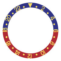 BEZEL INSERT FOR ROLEX GMT BLUE/RED PEPSI 1670 1675 16750 16753 16758 GOLD FONT