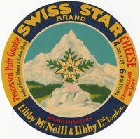 Vintage Swiss Star Gruyere Cheese Label - London Food Dairy Importer Switzerland
