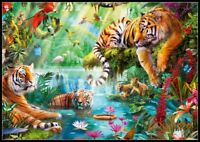 Tiger Lagoon - Chart Counted Cross Stitch Pattern Needlework Xstitch DIY DMC