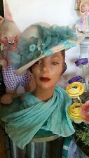 Vintage Mr John 50s Spring Straw Hat Soft Blue Silk Flowers.