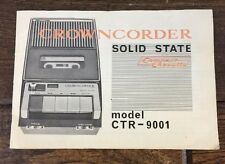 Vtg Crown Compact Cassette Crowncorder Tape Recorder Instruction Manual Ctr-9001