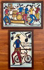 Antique Black American Folk Art Americana Painting Mid Century Jazz Band Music
