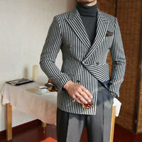 Men's Gray With Black Striped Blazer Peak Lapel Double-breasted Formal Suits