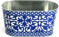 2 X Portugais Esschert Designs Jardin Herbe Fleur Métal Bleu Jardinière Tube