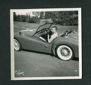 Triumph TR3 British Sports Car Driver & Pet Cat Vintage 1950s Photo 469151