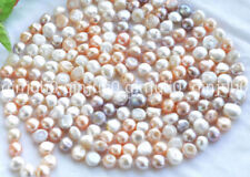 "Natural 100"" 10-12mm white pink Purple baroque freshwater pearl necklace JN1132"
