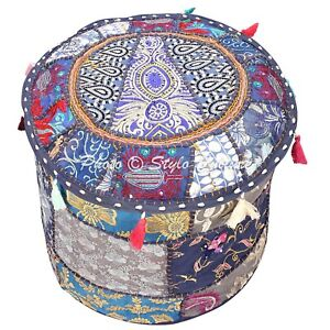 Ethnic Pouffe Ottoman Cover Navy Foot Stool Patchwork Embroidered Round 18 Inch