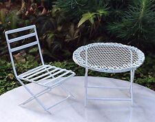 Miniature Dollhouse FAIRY GARDEN Furniture ~ Mini White Metal Table & Chair Set