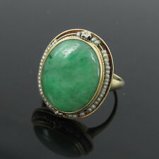 Art Deco KB Natural Jadeite Jade & Pearl 14K Yellow Gold Ring - size 6.5