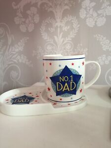 No 1 Dad Fine China Snack Set Mug And Biscuit Plate