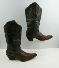Ladies Corral Brown / Orange Goat Skin Leather Western Cowgirl Boots Size : 9 M