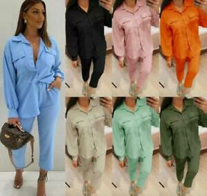 Women's Ladies Button Shirt Bottom Two Piece Set Loungewear Tracksuit New