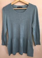 Ladies Round Neck Smokey Blue Top Size 14 M&S<NH6259