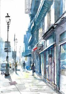 original drawing A4 144GK art samovar watercolor cityscape landscape