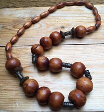 Vintage Style Wooden Bead Necklace/1960's/70's Style/Retro/Hippy/Long/Dark Brown