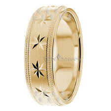 Mens Gold Wedding Bands 10K Solid Gold Wedding Rings for Men 7mm Size 4 to 13