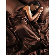 DELUXE Satin 4 teilige Bettwäsche 135x200 + Bettlacken +2x Kissenbez. Schokolade