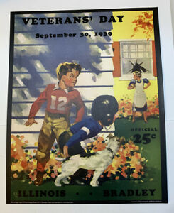 "Illinois Fighting Illini v Bradley Football 1939 Program Poster Print 14"" x 11"""