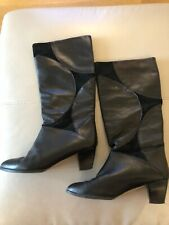 Vintage Bally Boots Black Pull On 38.5 Uk 5.5 80s 90s Leather Made In Italy