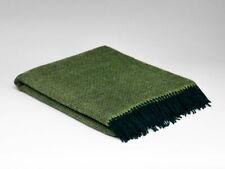 Large McNutt Leaf Green Irish Blanket Throw - Made in Ireland - 100% Wool