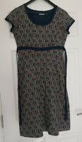 Seasalt Morvoren Ladies Belted Floral Indian Green Cotton Dress UK Size 12