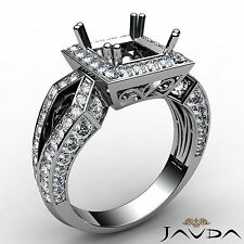 Princess Semi Mount Halo Set Diamond Engagement 1.38Ct Ring Platinum Split Shank