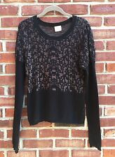 PARKER Black Brown Print Sweater Small S M Medium * Rare! Nordstrom *